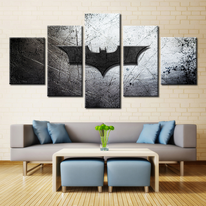 Embelish 5 Pieces Vinage Modern Home Decor Modular Pictures For Living Room HD Print Canvas Painting Wall Art Batman Logo Poster
