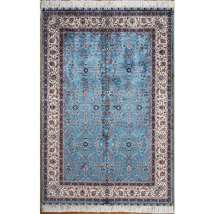 4'x6' tapis de soie à sept fleurs de montagne tapis turcs faits à la main tapis de soie orientale tapis doux