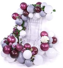 METABLE 100 pcs Burgundy Wine Red  Gray White Balloons for Baby Shower Decorations, Wedding Decorations