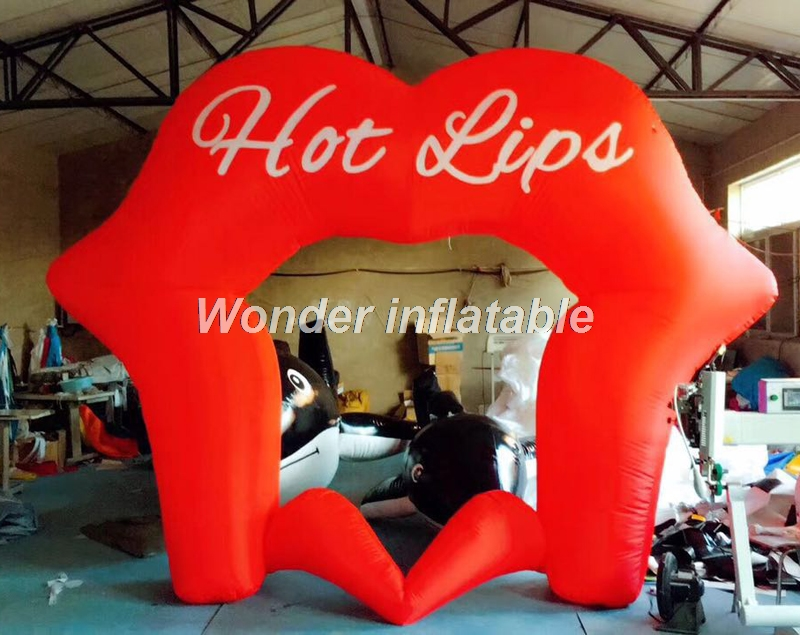 Новый дизайн открытый красный гигантские надувные губ арки светодиодный освещения арка для свадебной церемонии