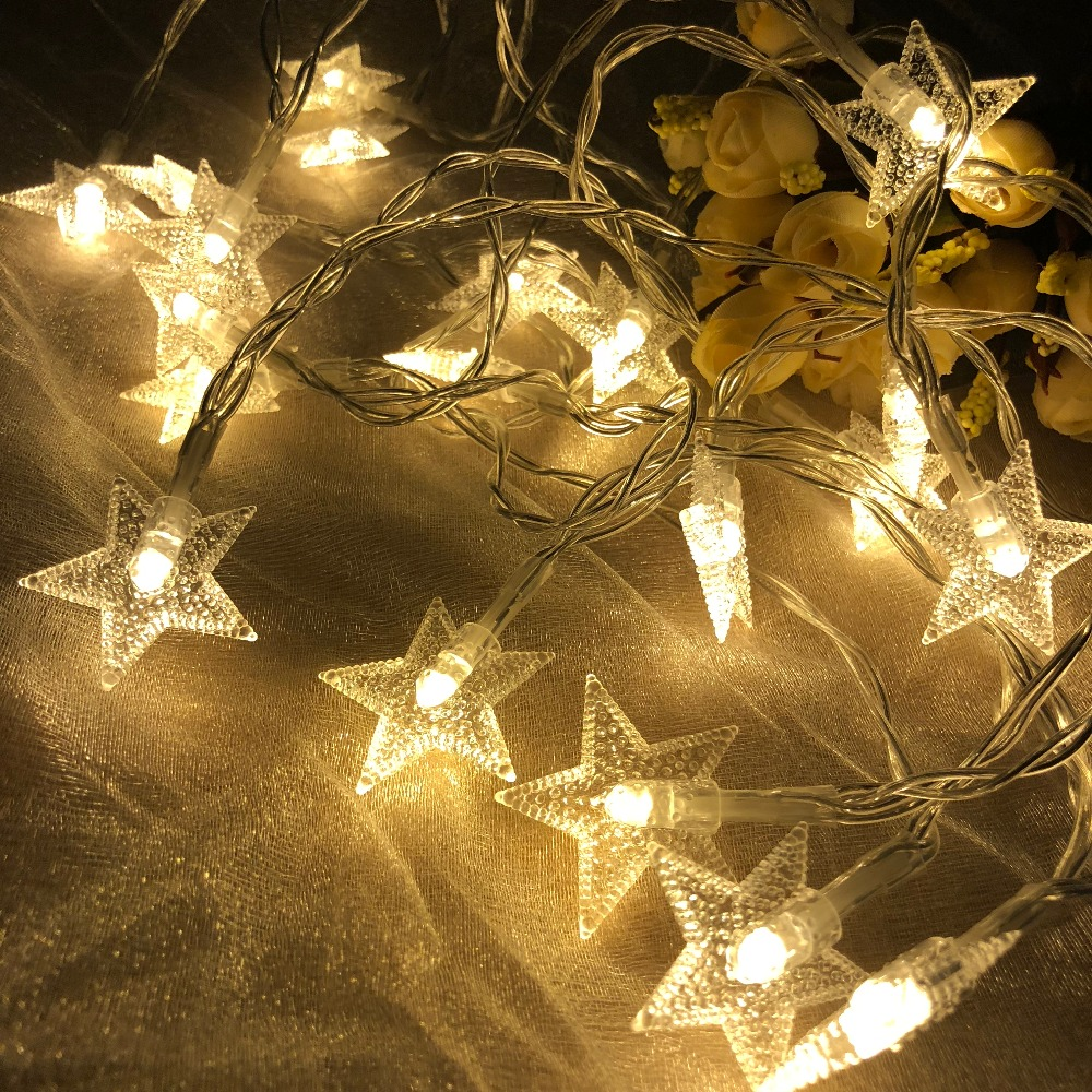 New Year 1.5M 3M 6M 10M LED Star String Lights Fairy Garland Waterproof For Christmas Wedding Home Decoration Battery Powered