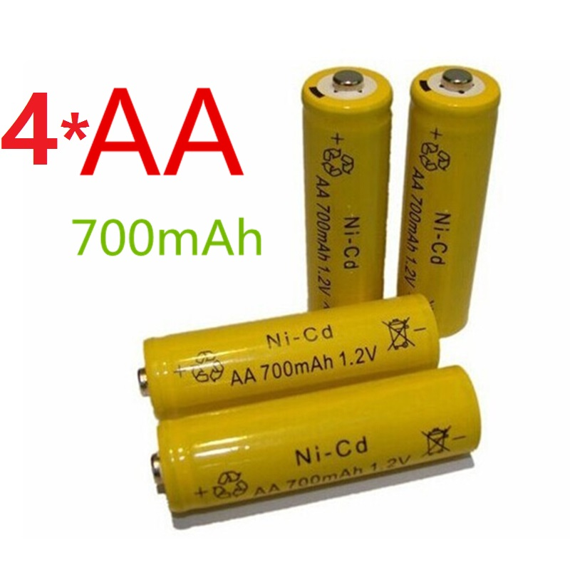 4*14500 Rechargeable Batteries( AA battery) <font><b>1.2</b></font> <font><b>v</b></font> 700mAh Lithium Li-ion Battery Flashlight laser 14500 1.2V 700MaH aa battery image