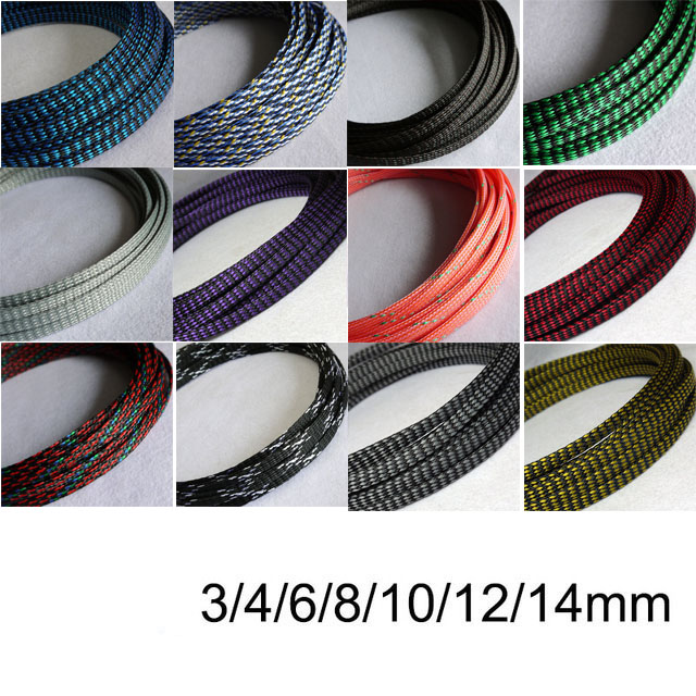 Blue Red 4mm to 18mm Expandable Braided Sleeving Wire Cable 3 Weave High Density