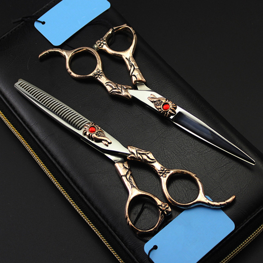 High quality professional japan 440c 6 inch Retro Sunflower hair scissors thinning barber cutting shears hairdressing scissors high quality professional 5 5 inch japan 440c hair cutting thinning scissors set 360 degree double rotary handle of blue screw