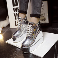 SWYIVY Quality Sneakers Woman Platform 2018 Autumn High Top Casual Shoes Female Wedge High Increased Goldern Shoes Sneakers