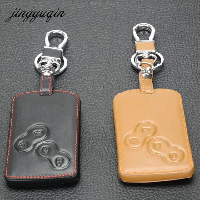 jingyuqin Leather Keychain Key Case Holder for Renault Clio Scenic Megane Duster Sandero Captur Twingo Koleos protector Cover