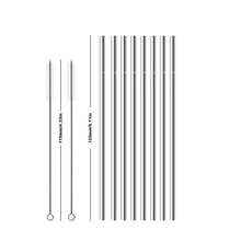 2/4/8PCS 130*6mm Kids Metal Straw Set Drinking 304 Stainless Steel Reusable with 110mm Brush For kids