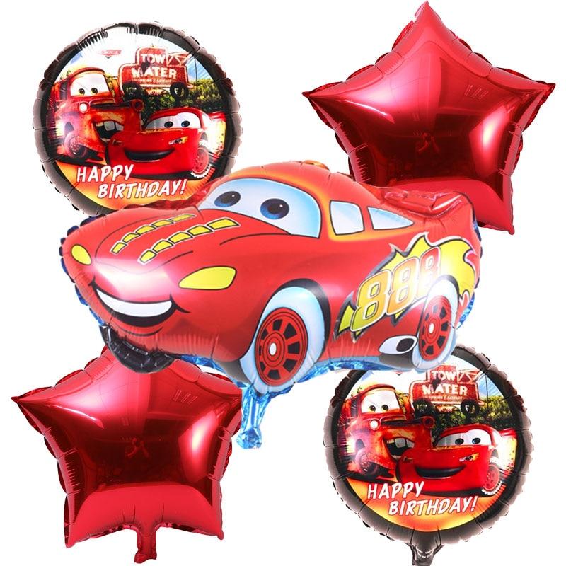 5pcs/lot Cartoon car Foil Balloons star Helium Balloon Inflatable children class