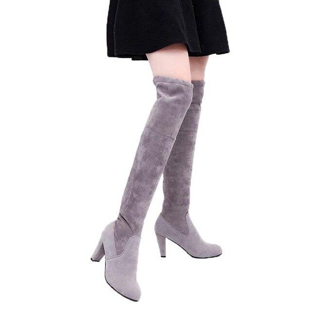 Mulheres Botas Sexy Coxa Overknee Salto Alto Faux Suede Chunky Botas altas Esticar Sobre o Joelho Botas Sapatos de Mulher Mais tamanho