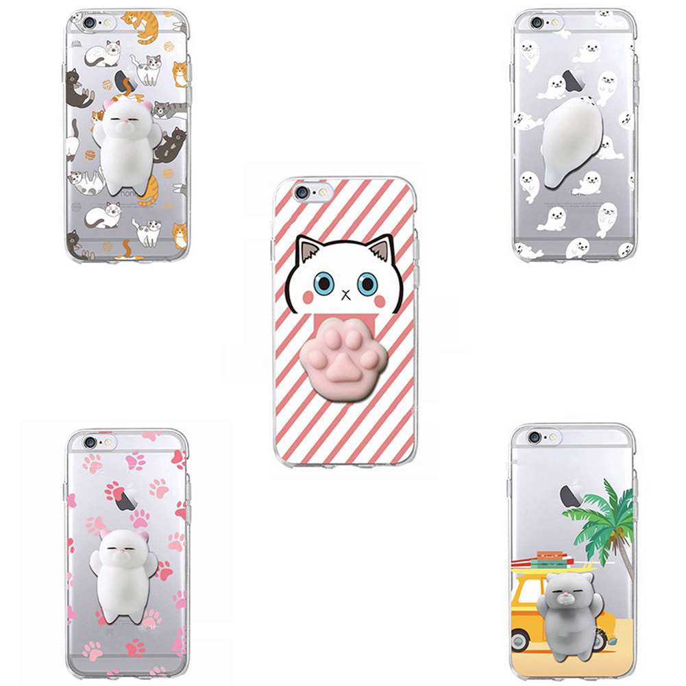 Soft Mobile Squeezed Cat Cover Shell Cute Cartoon Cat Case For Apple Iphone 7 8 Plus X Squishy Phone Cover