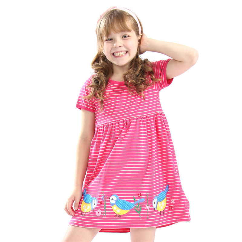 Little Bitty hot selling baby girls summer dresses kids short sleeves cartoon dress with applique some birds top quality 2018 hot selling baby girls cartoon dresses with printed some dinosaurs kids new designed autumn clothing top quality girls dresses