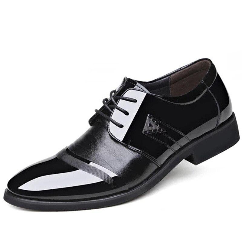 e438d0a002 Boda Zapatos Casual Moda Lace Black Oficina Los Marca La Formales Cuero Up  Vestido De Negocios Hombres ...