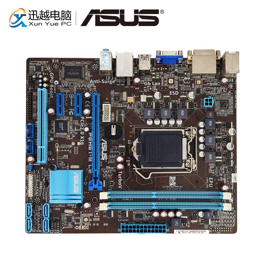 Asus P8H61-M LE  Desktop Motherboard H61 Socket LGA 1155 For Core I3 I5 I7 DDR3 16G SATA2 USB2.0 UATX Original Used Mainboard