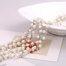 1-5Yards Pearls Crystal Rhinestone Applique Strass Trims Silver Base Sewing Accessories For Wedding Dress