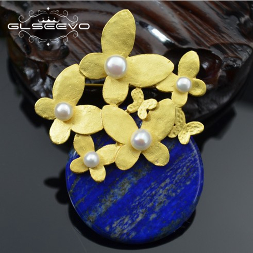 GLSEEVO Natural Fresh Water Pearl Brooch Pins Lapis Lazuli Brooches For Women Gifts Dual Use Designer Jewelry Luxury GO0239 glseevo natural lapis lazuli flower brooch pins and brooches for women accessories birthday gifts dual use luxury jewelry go0183