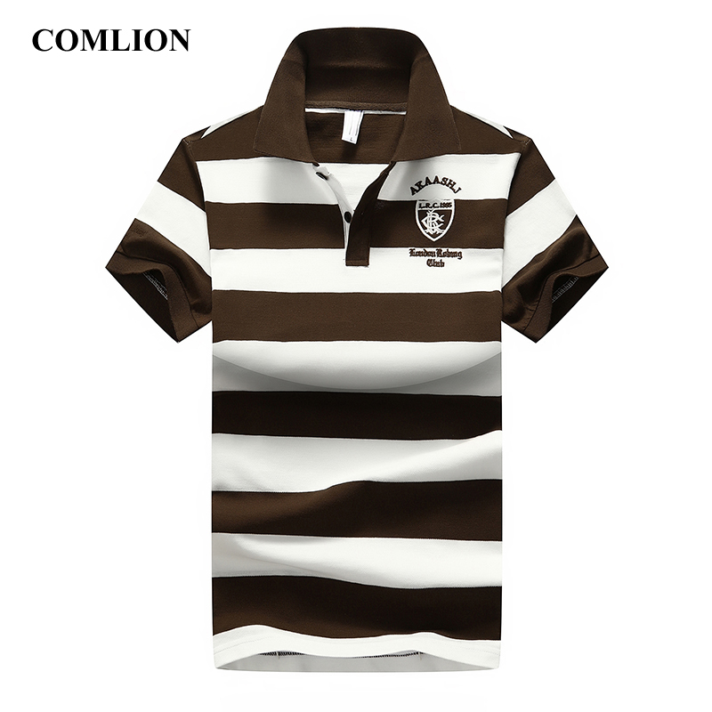 COMLION New Polo Shirt Men Cotton Striped Summer Polo Shirts Short Sleeve Poloshirts Mens Casual Business High Quality Clothing
