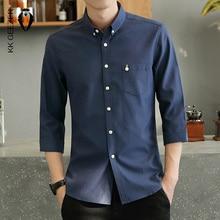 Camisa masculina do smoking três quartos formal negócio social magro ajuste manga longa casual botão para baixo camisas de vestido anti rugas