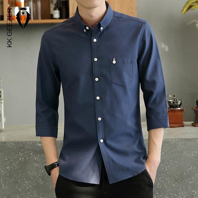 Mens Tuxedo Shirt Three Quarter Formal Business Social Slim Fit Long Sleeve Casual Button Down Anti wrinkle Dress Shirts