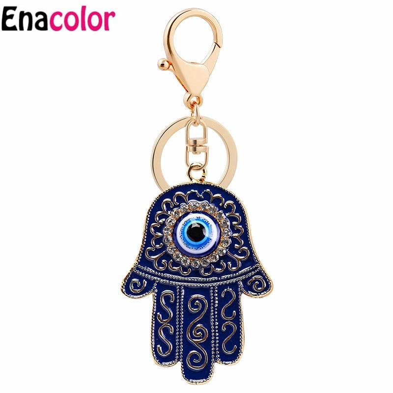 2018 New Statement Eye of the Devil Hamsa Fatima Keychain Keyring Crystal Hand of Fatima Purse Bag Pendant Car Key Chain Holder