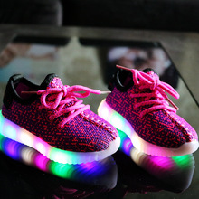 EUR 21-36 Kids Led Sneakers Luminous Sneakers Boys Girls Print Mesh Lighted Shoes Fashion Lace-Up Trainers Children Casual Shoes