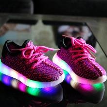 EUR 21-36 Lumineux Sneakers Enfants Chaussures Pour Fille Led Sneakers Avec Garçons Mode Lumineux Mesh Imprimer Enfants Casual sport Chaussures