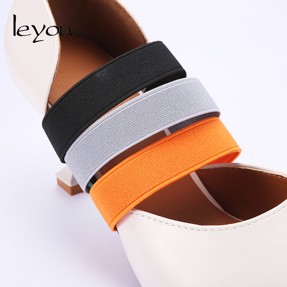 Leyou Women Heel Shoes Band Elastic Strap For Shoes Belt Shoelaces Anti Loose Belt Colorful Elastic Band Shoestrings