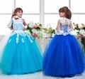 FG8001 Bonito Do Laço Da Flor Vestidos Da Menina 2017 Do Pescoço Da Colher Turquesa Azul Royal Meninas Primeira Comunhão Vestido Barato Vestido de Concurso Criança