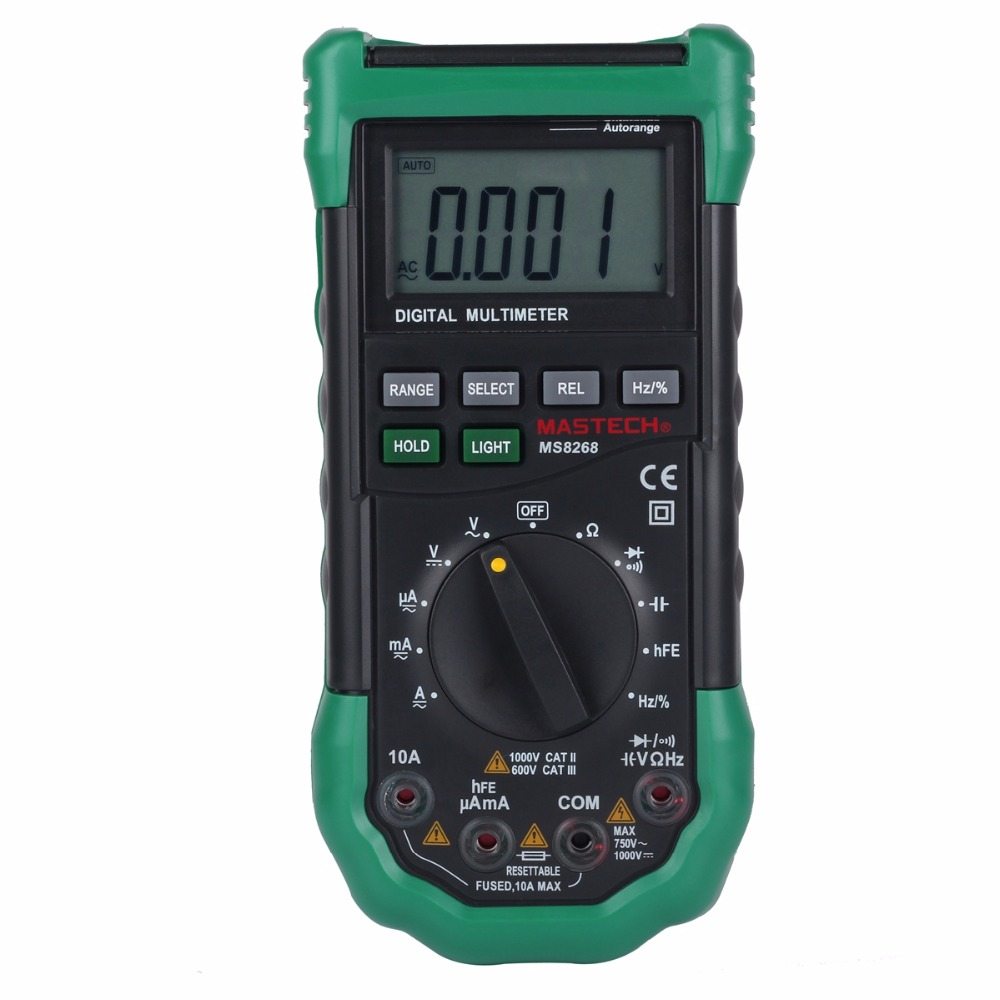 Mastech MS8268 Auto Range Digital Multimeter Full protection ACDC Ammeter voltmeter ohm Frequency electrical tester diode test
