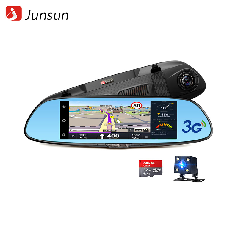 Dash camera Junsun A730.32GB 7 inch 3G Car GPS Navigation Android WIFI DVR Camera video recorder Rearview Mirror Vehicle gps free shipping brand new 4ch 720p ahd hd real time recording 128gb sd car mobile dvr video recorder for heavy bus taxi truck van