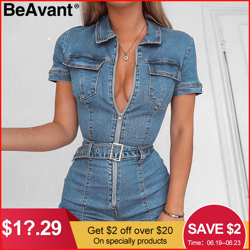BeAvant Zipper sexy denim   jumpsuit   short women rompers Pocket bodycon summer jeans overalls Casual fashion party club combishort