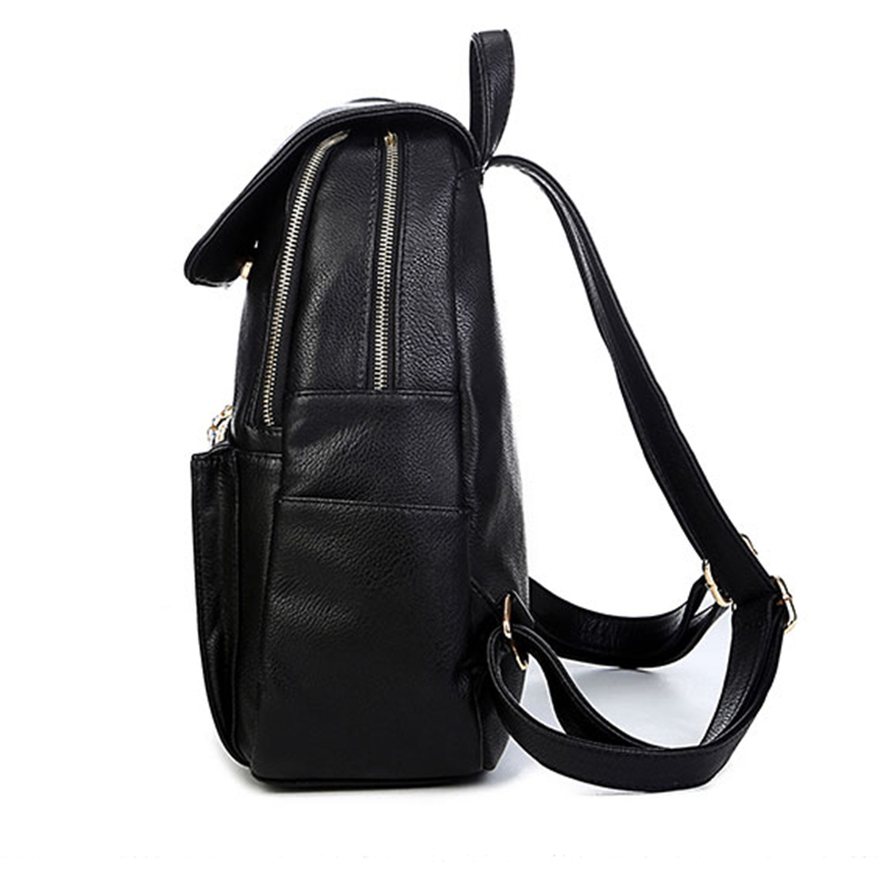 2018 Women Leather backpacks Casual school bags for teenage girls big size  lady travel backpack College Students Black color bag-in Backpacks from  Luggage ... 4f1cca56edafe