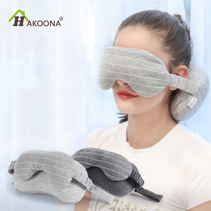 HAKOONA Multi Purpose Eye Mask Neck Throws Pillow Sleeping Mask Pillow For Travel Foam particles fillling stripend pattern in Travel Pillows from Home Garden