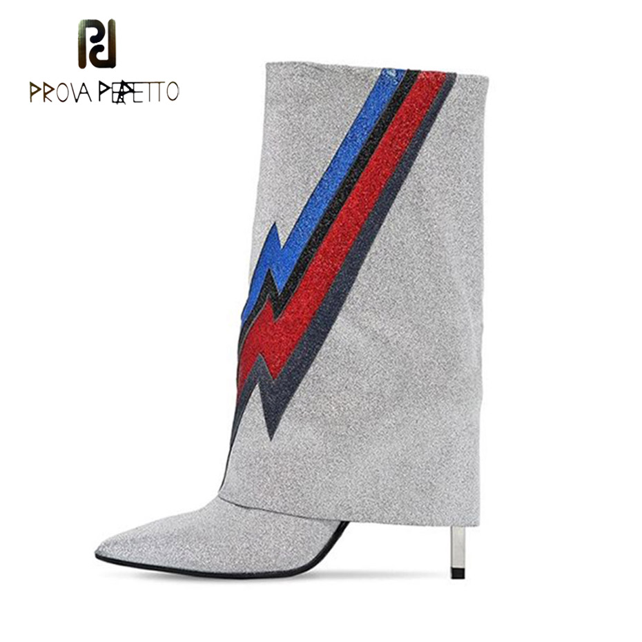 Prova Perfetto new turned design chic sliver fashion boots women mixed color lightning decor runway boots pointed toe thin heels