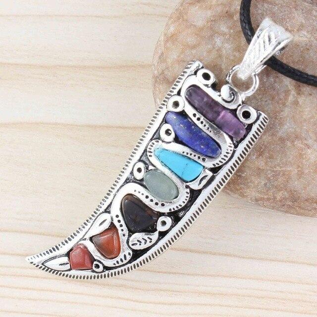 Kraft-perles uniques en argent plaqué 7 pierres de couleur corne forme guérison Chakra pendentif breloque bijoux