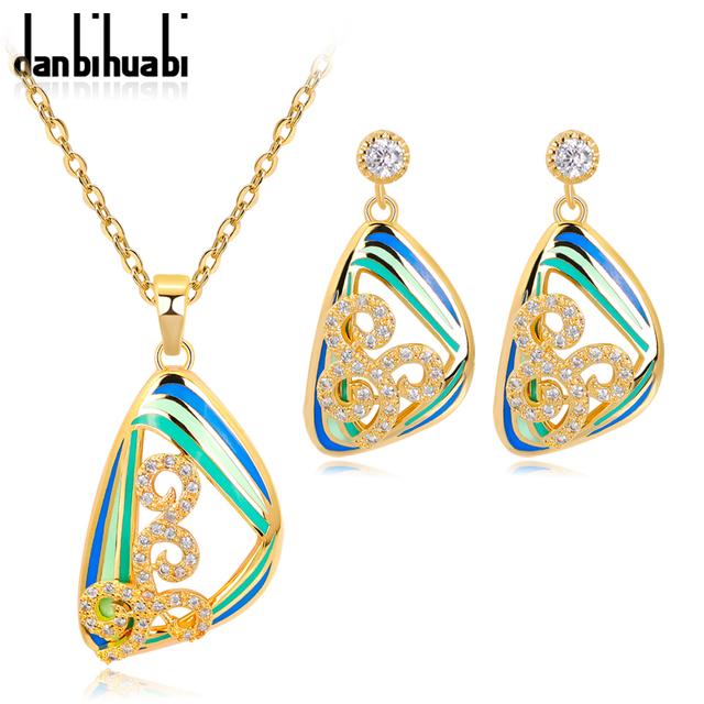 Enamel Indian Bridal Jewelry Sets Zircon Necklace Earrings With Stones Costume For Women Gold