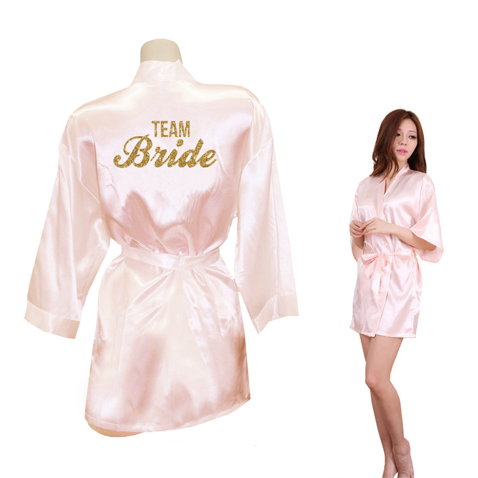 Bride Crown Team Bride Golden Glitter Print Kimono Robes Faux Silk Women Bachelorette Wedding Preparewear Free Shipping-in Robes from Underwear & Sleepwears on AliExpress