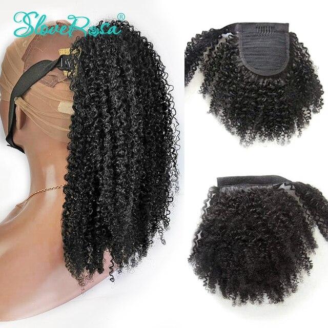 Кудрявые кудрявые бразильские волосы с конским хвостом с полным концом натуральный черный цвет 100 г Remy человеческие конские хвосты с зажимом Slove Rose для женщин