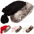 2016 newest Women Winter 2 Usages Drawstring Top Faux Fur Knitted Wool Hat Beanie Cap Scarf