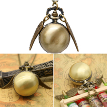 2019  Antique Golden Wing Quartz Pocket Watch Charming Vintage Men Women's Watch Snitch Ball Necklace Pendant Clock with Chain 2 colors pocket watch necklace jewelry antique eagle wings quartz pocket watch necklace pendant chain clock gift ll 17