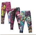 Atacado-Moda Meninas 6A-16A Leggings Zumbi Menina Dos Desenhos Animados Legging Calças Roupas
