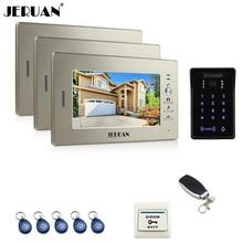 JERUAN new 7 inch LCD video doorphone intercom system 3 monitor RFID waterproof Touch Key password keypad camera+remote control