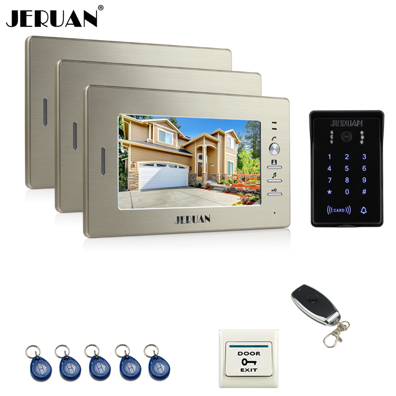 JERUAN new 7 inch LCD video doorphone intercom system 3 monitor RFID waterproof Touch Key password keypad camera+remote control jeruan wired 7 touch key video doorphone intercom system kit waterproof touch key password keypad camera 180kg magnetic lock