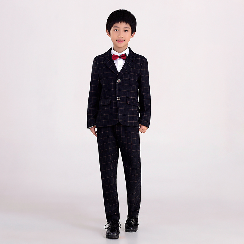 2017 New Boys Suits for Weddings Kids Long Sleeve Grey Checked Clothes Suit for Party Boys Blazer Jacket Children Clothing 1C07 2015 new arrive super league christmas outfit pajamas for boys kids children suit st 004