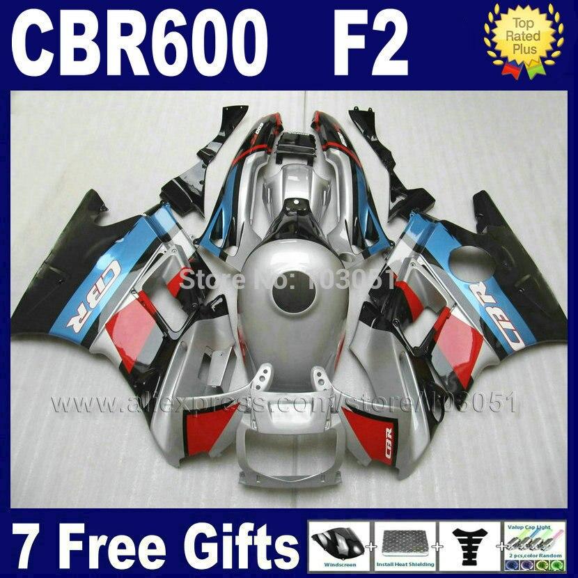 OEM Factory men fairings kit for Hond silver blue1993 1994 CBR 600 F2 1991 1992 CBR600 91 92 93 94 F2 CBR600 F fairing kit+ tank
