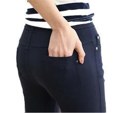 2018 אביב מכנסי עיפרון נשים מקרית Slim סקיני מכנסיים נשים מכנסיים אמצע מותניים מותניים אלסטי באורך קרסול חותלות בתוספת גודל