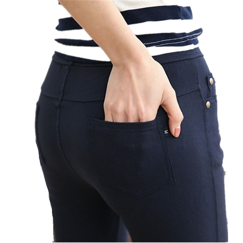 2018 Spring Pencil Pants Women Casual Slim Skinny Trousers Women Pants Elastic Waist Mid Waist Ankle Length Leggings Plus size-in Pants & Capris from Women's Clothing