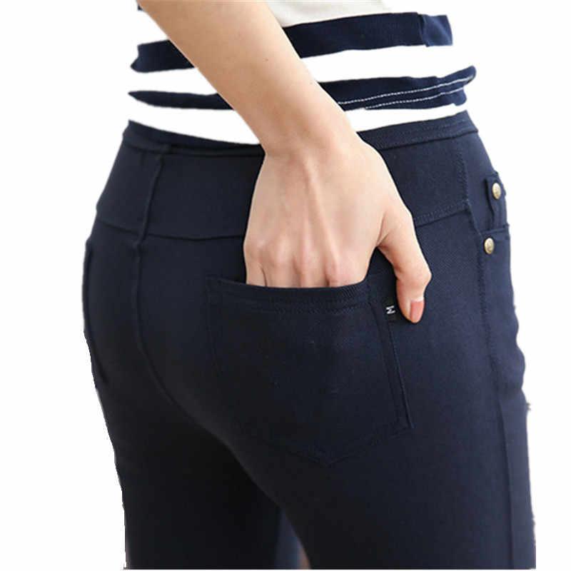2018 봄 연필 바지 여성 캐주얼 슬림 스키니 바지 여성 바지 신축성 허리 중반 허리 발목 길이의 레깅스 플러스 사이즈