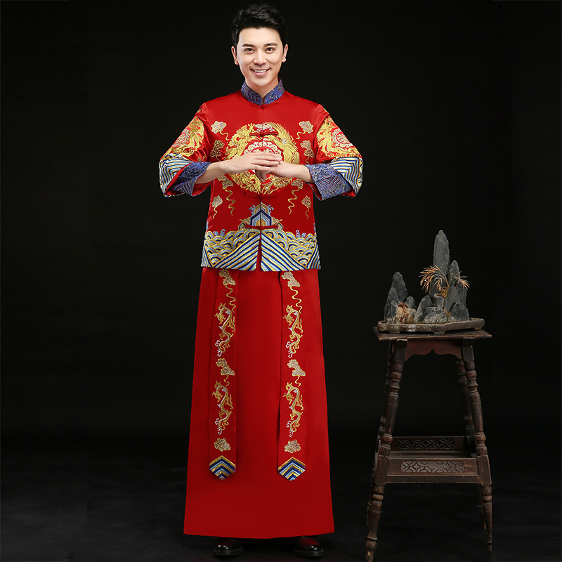 Traditional Bridegroom Embroidery Dragon Cheongsam Classic 2PCS Marriage Suit Clothing Chinese Vintage Male Red Wedding Dress