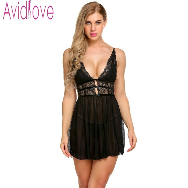 9927654b09b Avidlove Lingerie Sexy Erotic Hot Babydoll Dress Women Transparent Floral  Lace Night Porn Chemise Underwear Fantasy Sex Clothes
