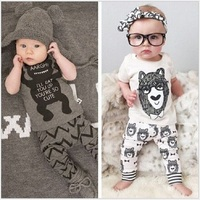 Ins Baby Clothes Sets Newborn t shirt tights Girls Long Pajamas Sleepwear 100% Cotton Infant Tee Shirts Trouser Set Tops
